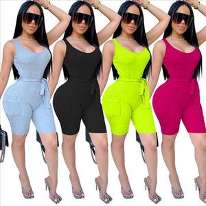 Skinny Rompers for Women Solid Sexy Playsuit Tank Sashes Rompers and Jumpsuits for Women Streetwear 2020 Fashion Summer
