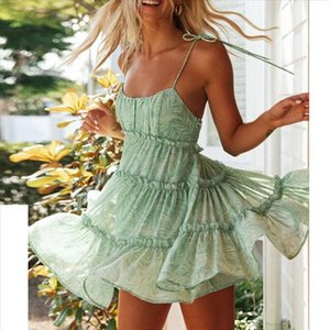 38 Beach Dress For Women Sexy Sling Leaf Print Strap Boho Sleeveless Beach Ruffled Mini Dress Sexy Backless Boho