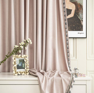 Velvet curtain light luxury style carving cross grain craft velvet curtain finished customized dirty pink nude pink dogwood color
