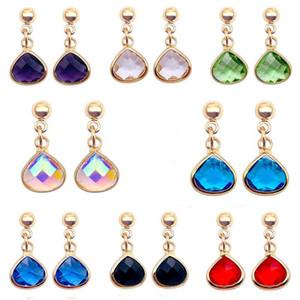 Fashion Colorful Teardrop Crystal Earrings Simple Rhinestone Earring Birthday Stone Charm Ear Drop Women Jewelry Accessories