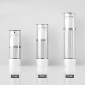 15ml30ml50ml 10 20 30pcs lot Empty Cosmetic Airless Bottle. DIY Silver Line Pressed Vacuum Bottle.Portable Lotion Pump Package