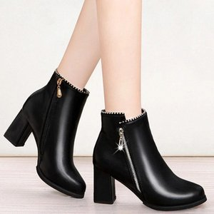 Rimocy Women Fashion Zipper High Heels Ankle Boots Autumn Winter 2020 Warm Short Plush Boots Woman Black PU Leather Botas Femme #6O4U