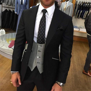 Latest Design Wedding Costume Homme Mariage 3 Pieces Mens Suits With Pants Suit Men Custom Made Slim Fit Groom Suit Black1