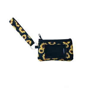 10 Printed Sunflower Leopard Cow Flower MultiFunction Neoprene Passport Cover ID Card Holder Wristlets Clutch Coin Wallet Keychain DHF4633