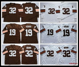 Vintage Mens 32 Jim Brown 19 Bernie Kosar Football Jerseys Cheap Long Sleeve Stitched Shirts Embroidery Logo