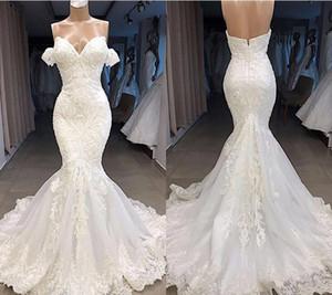 2021 DHL Elegant Off Shoulder Mermaid Wedding Dresses Vintage Open Back Sweetheart Bohemian Bridal Gown