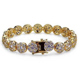 New Fashion Gold And White Gold Hip Hop Full Diamond Tennis Bracelet Iced Out Cz Cubic Zircon Wrist Chains Jewelry Gifts For Men & Gyidf
