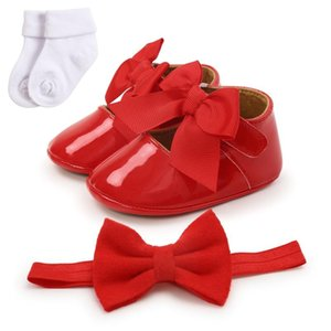 3pcs set Autumn Baby Girl Crib Shoes Baby Girl Bowknot Toddler Shoes + 1 Headband + 1 Socks For Infant 0-18M Walking Shoes6
