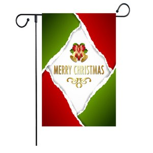 Colorful Santa Claus Garden Flag Yard Hanging Christmas Flag Banner Letter Printed Linen Xmas Flag Christmas Garden Decoration BWE3098