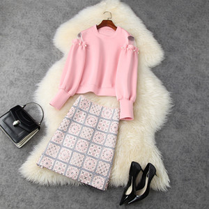 2020 Fall Winter Long Sleeve Round Neck Pink Tulle Panelled Sweatshirt + Embroidery Mini Short Skirt Two Piece Suits 2 Pieces Set LN26T11639