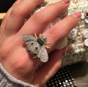 2019 new bee ring female open index finger size code ring network red tide person inlaid zircon jewelry accessories trend bee element