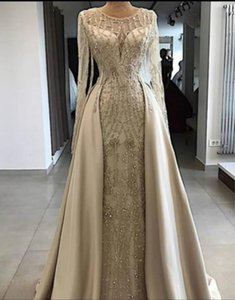 2021 Sheer Neck A Line Formal Evening Dresses With Overskirt Train Long Sleeves Plus Size Lace Prom Party Gowns Cheap