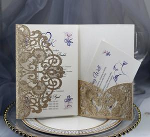 결혼식 신부 샤워 약혼 결혼식 액세서리 빈 내부 사용자 정의 된 생일 카드를위한 골드 실버 반짝이 레이저 잘라 내기 포켓 초대장