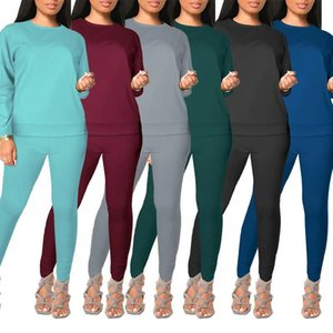 womens tracksuits long sleeve outfits shirt pants two piece set skinny shirt tights sport suit pullover pants hot selling klw5701