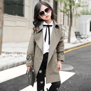 Ragazza Trench Cappotto Autunno cintura invernale Doppio petto Bambini Trench Coat Fashion Adolescente Adolescente Adolescente a vento lungo 10 12 LJ200828