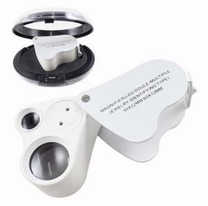 2in1 Joyería de ojos de mano LED 9889 Lupa Lupa LED Doble Múltiple Joyería Identificación Tipo 30x22mm 60x12mm Lupa Joyero Lente