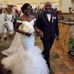 African Vintage Mermaid Wedding Dresses 2021 Lace Off The Shoulder Appliqued Tulle Tiered Skirt Bridal Gowns Plus Size Dubai Marriage Dress