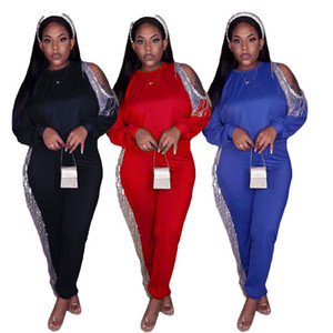 womens tracksuits long sleeve outfits shirt pants two piece set skinny shirt tights sport suit pullover pants hot selling klw5722
