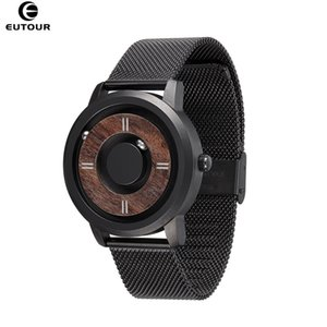 Eutour Magnetic Drive Mens Watches Top Marca Luxury Quartz Watch Mujeres Hombre Madera Acero inoxidable Unisex Wristwatches 201209