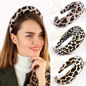 New Western Style Solid Colors Leopard Thicken Padded Hairbands Bezel Turban Women Headbands Girls Accessories Headwear