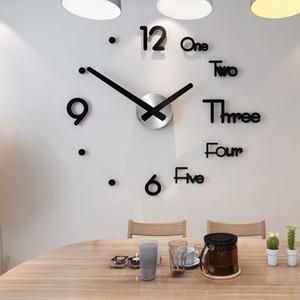 Modern Design Clock Watch Large Wall Clocks 3d Diy Acrylic Mirror Mechanism Stickers Home Living Room Decoration Quartz Needle Y1121