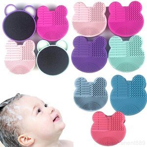 Silicone Pad Mat Brush Washing Tools Cosmetic Eyebrow Brushes Cleaner Tool Scrubber Board Makeup Cleaning DHB1037