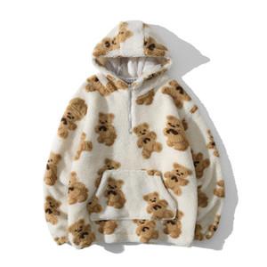 Sudaderas Moda erkek Kuzu Yün Kalınlaşmak Hoodies 2021 Sonbahar Kış Vintage Ayı Baskı Kapüşonlu Kazak Çift Zip Sweatshirt
