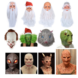 Horror Démon Clown Alien Green Grinch Masque Clown Latex Masque De Noël Santa Claus Masque Halloween Cosplay Costume Props
