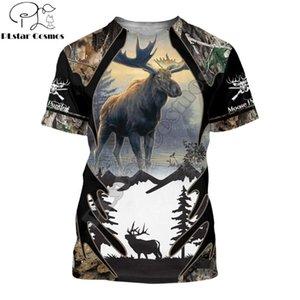 2021 летние мужчины футболка 3D на лосях охотничьи печать футболки Harajuku повседневная короткая рукава футболки монастырь унисекс прохладная футболка qdl001