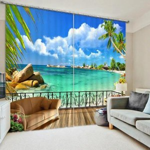 Maldives Beach Blue sea 3D Blackout Window Curtains For Bedding room Living room Wall Home Tapestry Decorative Drapes Cortinas