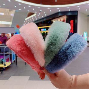 Le donne fascia fascia fasce di modo dolce retro elegante pelliccia di coniglio di coniglio hairbands accessori per capelli accessori per capelli nastri invernali festa gioielli testa bande