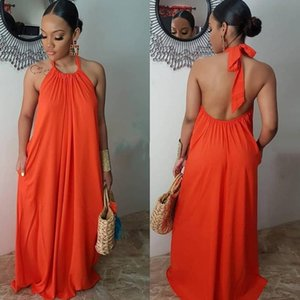 Solid Loose Dress Chic Halter with Straps Backless Women Dresses New Arrival 2020 Summer Midi Sexy Party Dress Office Lady