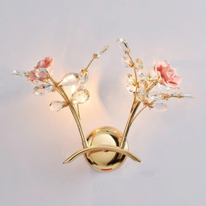 2-light gold crystal Wall Lamp Bedside G4 Led wall fixture pink flower Crystal Lamp Living Room Bedroom Corridor Arandela