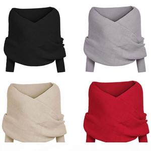 Women's Clothing 2016 New Fashion Women's Girls Long Sleeve Knitwear Shawl Tops Cardigan Cross Knitted Sweater