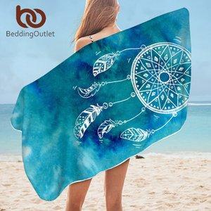 BeddingOutlet Dreamcatcher Bath Towel Microfiber Watercolor Beach Towel Blue Pink Purple Rectangle Bikini Cover-Up Mat 75x150cm 210318