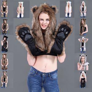 Hot-selling winter imitation leather hats plush animal hats cute cartoon fox tiger hats scarf gloves one spot
