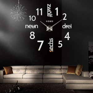 DIY 3D Large Wall Clock Sticker Silent Acrylic Self adhesive German Words Digital Wall Clock Modern Design for Living Room Decor