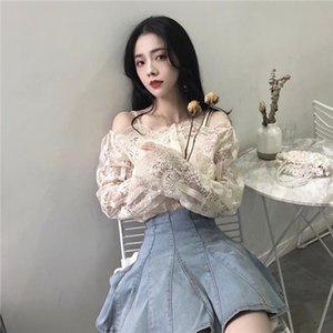 Womens Clothing Vintage Lace Floral strapless Slash Neck long sleeve Women Blouses sexy perspective Women Shirts New Spring