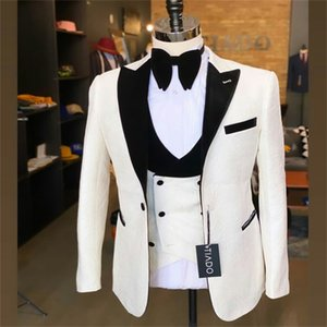 2 Piece Men Suits White And Black Newest Modern Formal Embossing Customized Fit Lapel Party Coat+Vest Casual Party Outfit