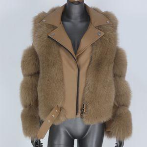 BLUENESSFAIR 2020 Real Fur Coat Vest Winter Jacket Women Natural Fox Fur Genuine Leather Outerwear Streetwear Locomotive Warm