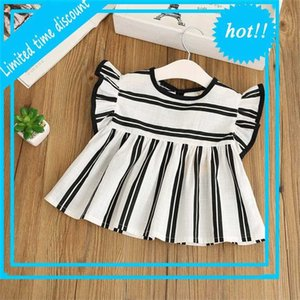 Retail Summer New Girl Shirts Black White Stripe Flare Sleeve Cotton Linen Loose Blouse Children Clothing 2-8Y C35