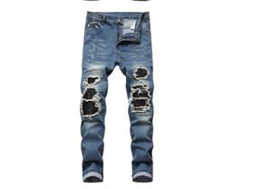 I jeans da uomo di New Men Designer da uomo in difficoltà Moto Denim Joggers lavato Pantaloni Jean pieghettati taglia 28-40