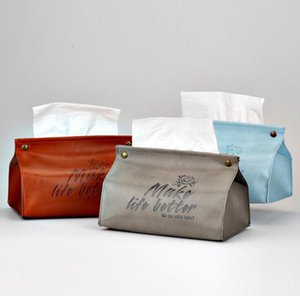 Simplicity Tissue Case Box Container PU Leather Soft Foldable Napkin Holder Home Car Towel Napkin Papers Kitchen Storage