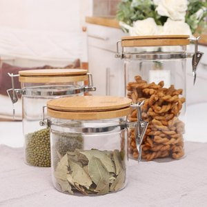 Stainless steel buckle glass easy to buckle storage tank glass storage bottle mason jar kitchen container sets