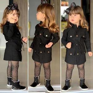 Newest Winter Coat Baby Girls Jacket Kids Girls Long Sleeve Winter Warm Outerwear Lapel Horn Button Fashion Children Windbreaker