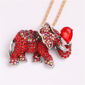 Collana rossa dell'elefante Nuovo elegante collane di nozze intarsiato del diamante di alta qualità collane di nozze della collana del diamante della collana del diamante di nozze Trasporto libero