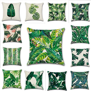 Tropical Plants Palm Leaf Green Leaves Monstera Cushion Covers Hibiscus Flower Cushion Cover Decorative Beige Linen Pillow Case