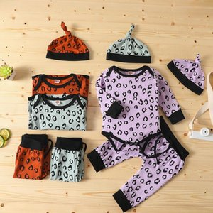 #43 3M-18M Infant Baby Girls Boys Leopard Print Romper Bodysuit + Pants+Hat Outfits Fashion Baby Boys Girls Clothes Ropa de bebé