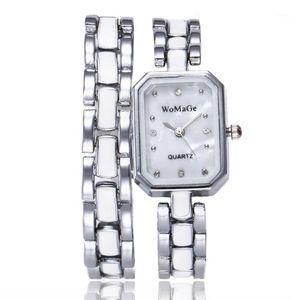 Femmes Montres 2020 Bracelet en alliage de luxe En alliage de luxe Montre Slim Watchband Silver Gold Square cadran Quartz Horloge