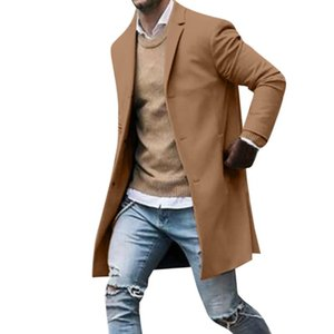 Mens Jacket Men's Autumn Winter Button Slim Long Sleeve Suit Jacket Trench Coat Top Blouse men jackets and coats #YB40